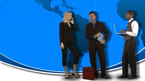 Animation of standing business people with the wor Animation