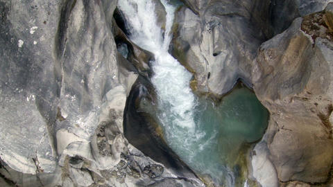 Mountain river. Melting glacier Ngozumpa, Himalaya Stock Video Footage