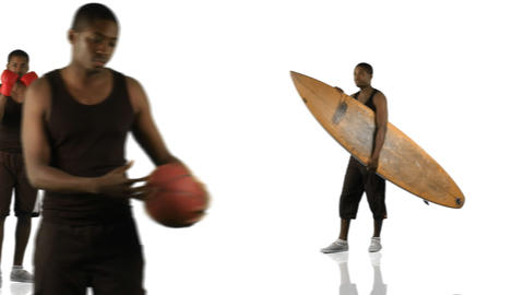 Animation of an ethnic boy doing different sports Stock Video Footage