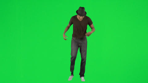 Ethnic young man dancing with a hat footage Footage