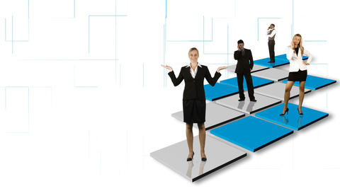 Animation of isolated business people standing on different colorful squares Animation