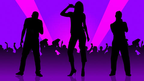 Animation Of People Silhouettes Singing stock footage