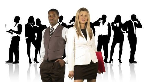 Businesswoman and businessman in front of their te Animation
