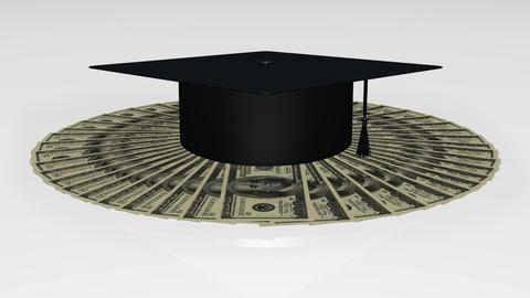 Animation of a graduation hat on dollar notes Stock Video Footage