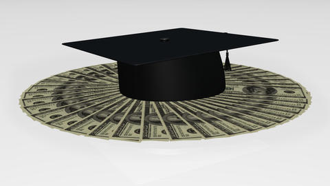 Animation of a graduation hat on dollar notes Animation