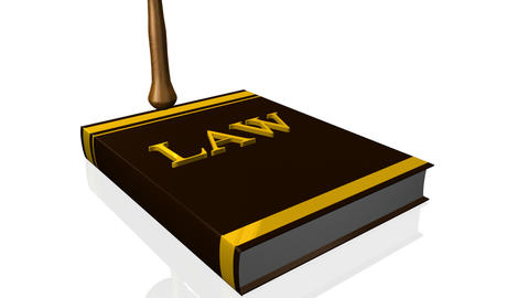 Animation of a book of law and a hammer. Concept of justice Animation