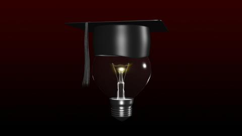 Light bulb with a graduated hat on. Concept of sma Animation