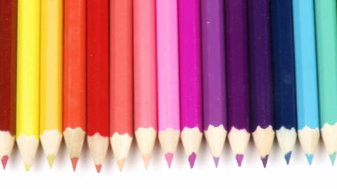 Panorama of colorful pencils in a row Footage
