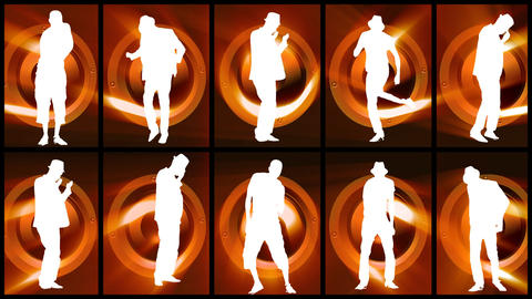 Animation of twelve men silhouettes dancing agains Footage