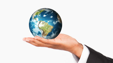 Human hand holding the Earth Planet. World protection Animation