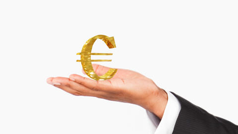 Human hand holding a Euro symbol. Concept of good Stock Video Footage