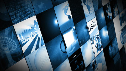 Animation of digital screens showing business and  Animation