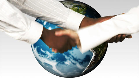 Business people shaking hands against the world. Multicultural world and Solidarity concepts Animation