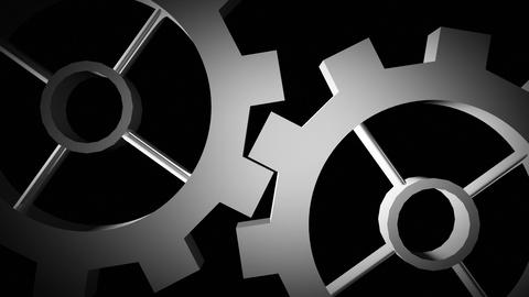 Cogs and gears in motion in black and white Animation