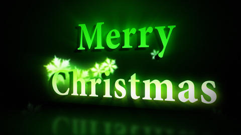Merry Christmas animation in green colours Stock Video Footage
