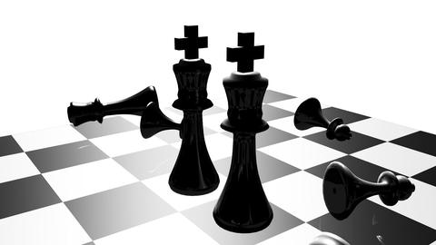 Animation of chess set. Stand off. Concept of rivalry Animation