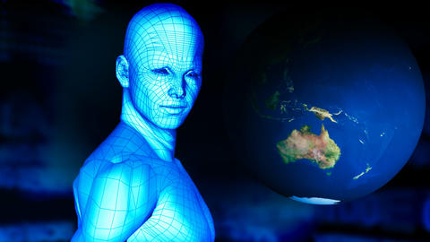 Digital man with the planet spinning. World and te Stock Video Footage