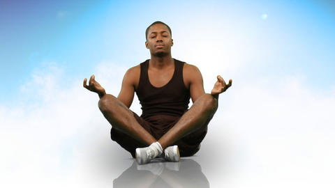 Animation of an ethnic man doing yoga. Concept of peace and relax Animation