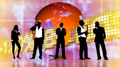 Stock market background with people silhouettes Animation