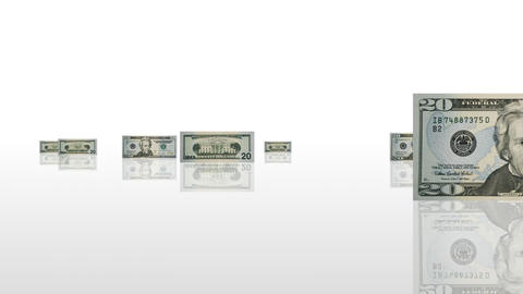 Dollars coming on stage. Money concept Animation