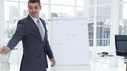 Businessman writing on a whiteboard a business pla Footage