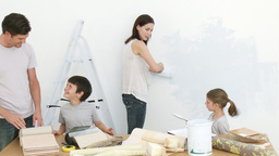 Family painting home Footage