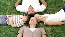 Smiling family lying in a park with heads together Footage