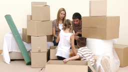 Family moving to a new apartment Footage
