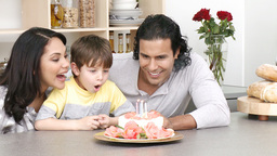 Close up of family celebrating kids birthday Footage