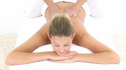 Young woman at a hotel health spa Stock Video Footage