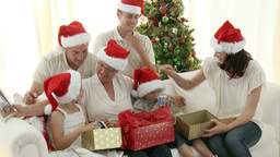 Intergenerational Family at Christmas Footage
