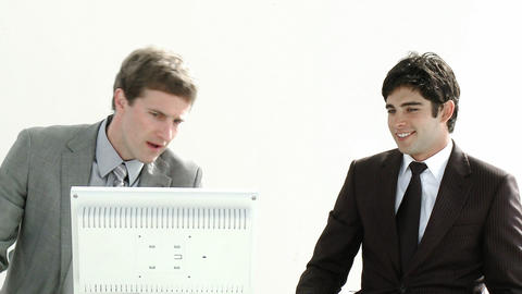 Two Businessmen working together in an office Footage