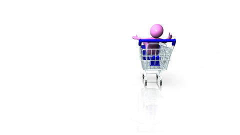 man in a shopping trolley Footage
