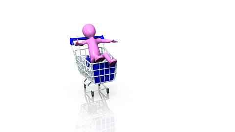 man in a shopping trolley Stock Video Footage