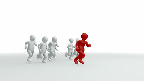 Animation representing a group of 3dmen running Animation