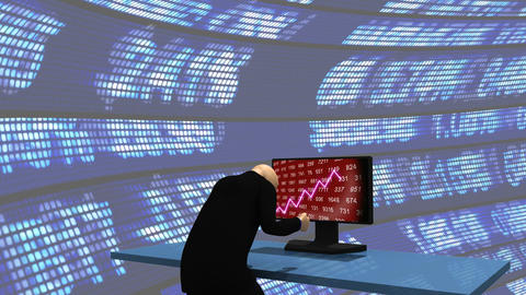 Computer animation representing a 3dman observing the share market Animation