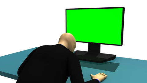 Computer animation representing a 3dman sitting in Animation
