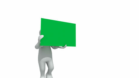 Animation represeting 3dman holding a green placar Animation