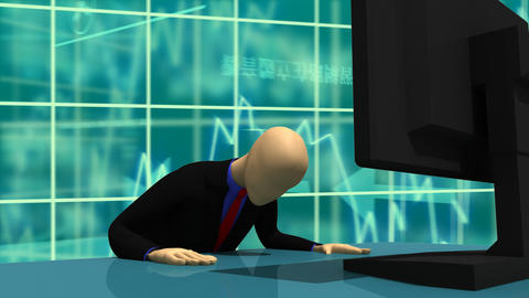 Animation presenting 3dman sitting in front of a screen Animation