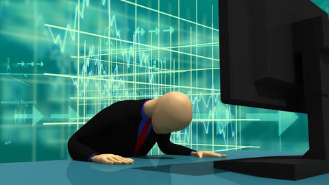 Animation presenting 3dman sitting in front of a s Stock Video Footage