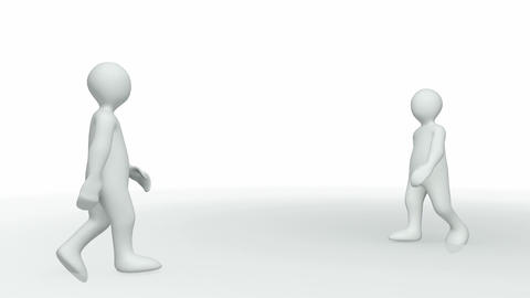 Animation presenting two 3dmen shaking hands Animation