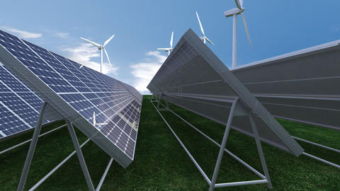 Animation showing solar panels Stock Video Footage