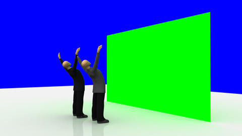 Animation presenting 3dmen looking at a green wall Animation
