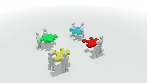 Animation representing a group of 3d men doing a c Stock Video Footage