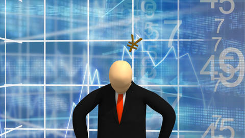 Animated graphics showing 3d man standing and thin Footage