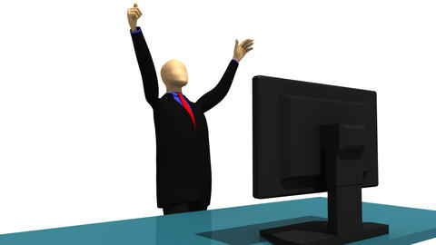 Animated graphics showing enthusiatic 3d man Stock Video Footage