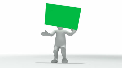 Animation showing 3d man with a green placard in h Animation