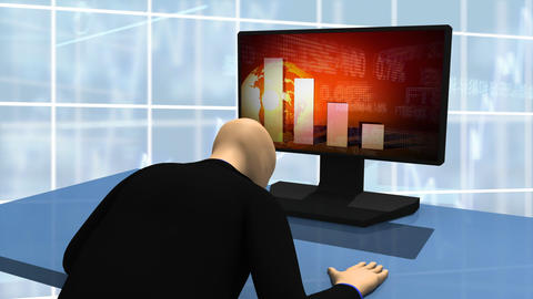Animated graphics presenting 3d man looking at dec Animation