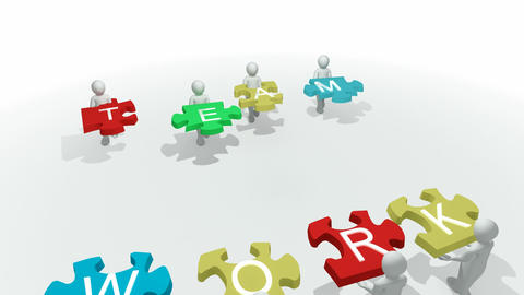 Computer animation showing 3d man with team work p Animation