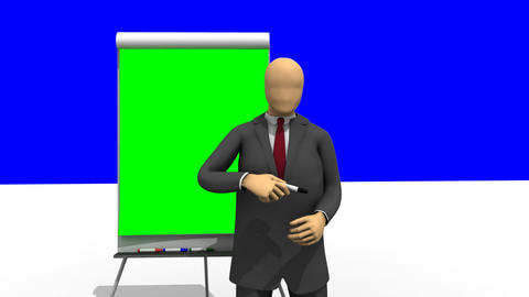 Animation showing 3d man giving a presentation wit Footage